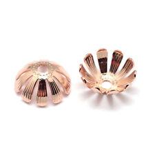 50 Rose Gold Flower Bead Caps 7x2mm Hole 1mm Brass Daisy Bead Caps