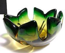 Vintage Hand Blown Murano Italian Art Glass Green & Amber-Gold Flower Shape Bowl