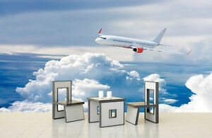 3D Airplane Flying above Cloud Self-adhesive Bedroom Wall Murals Wallpaper Decor