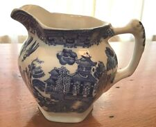ANTIQUE BLUE WILLOW 6 SIDED CREAMER - WOODS WARE - WOOD & SONS ENGLAND