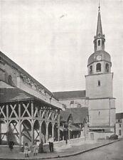 AUBE. Église Saint- Pierre, a Bar- sur- Aube 1900 old antique print picture