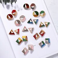 Fashion Acrylic Texture Color Earrings Personality Hollow Geometric Earrings