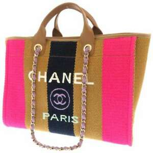 CHANEL Deauville Large Shopping Bag Viscose/Cotton/Leather Pink/Brown/Navy A...