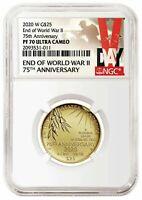 2020 W End of World War 2 75th - Half Ounce WW2 24 Karat Gold 20XG NGC PF70 WWII