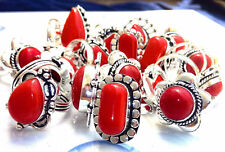 Red Onyx Gemstone 925 sterling silver overlay wholesale lot 10pcs rings