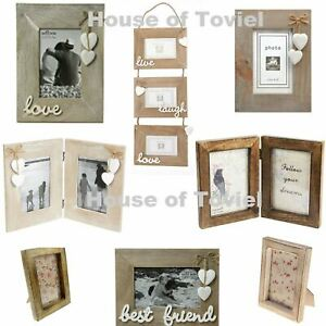 Wooden Wood Photo Frame Single Double with Friend Live Laugh Love Selection 6x4