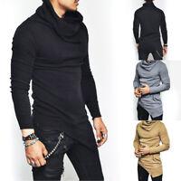Men's Slim Fit Irregular Long Sleeve Muscle Basic Tee Casual T-shirt Tops Blouse