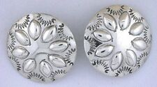 Southwest Hammered Handmade Concho Pure Sterling Silver Post Earrings Vintage