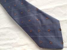 Mens Blue Brown White Tie Necktie VIA RE ~ FREE US SHIP (7654)