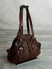 Ital. schlichte  Damentasche Schultertasche Abendtasche in Braun echt Leder 963B