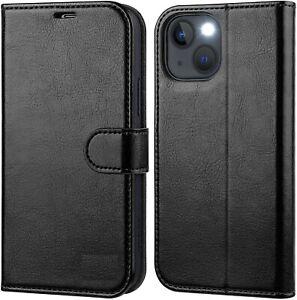 Coque pour iphone 13 / pro / pro max mini simili cuir Étui Housse rabat flip