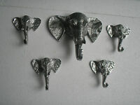 Metal Elephant Trunk Wall Mount Coat Hooks Set of 5 Pieces Figurine statue au