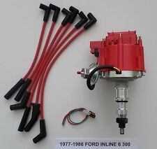 FORD Inline 6 Straight 6 cyl. 1977-86 300 HEI Distributor & Spark Plug Wires-RED