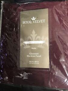 *Royal Velvet grommet Curtain Panel 50 X 84 Rich Burgundy