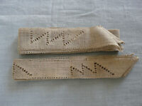 French Antique Square Edging Tablecloth Table Runner Bobbin Lace Linen Le Puy
