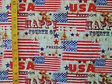 PATRIOTIC FREEDOM  FLAGS  4TH OF JULY PRINT 100% COTTON FABRIC BY THE 1/2 YARD