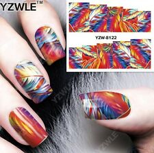 Multicolored Feathers Nail Art Sticker Decal Decoration Manicure