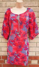 VERO MODA RED PINK BLUE LONG SLEEVE TIE NECK TUNIC TOP BEACH CAMI BLOUSE M 12