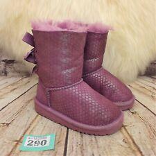 Girls UGG Australia Jellyfish Purple Bailey Bow Splash Winter Boots UK 6 EU 23.5