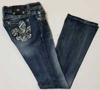Miss Me Jeans Womens Size 26 Mid-Rise Boot Cut Fleur-de-Lis Jeweled Pockets