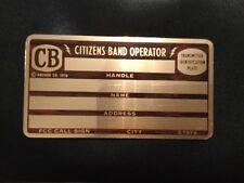 NOS~ VINTAGE C.B. HAM RADIO OPERATOR TRANSMITTER ID PLATE- Engraveable 1976