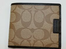 NWT $148 COACH Khaki HERITAGE Signature Saffiano Double Billfold Wallet