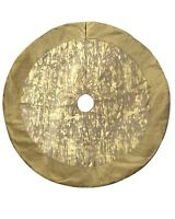 NEW Holiday Living 56-in Round Gold Ivory Christmas Tree Skirt