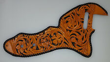 "Leather pickguard Fender thinline  hand tooled and dyed ""Floral Riffs"" 4 leaf L"
