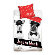 HOME LINE Dogs in black Youth bedding Single Bed Duvet Cover Set 100% COTTON