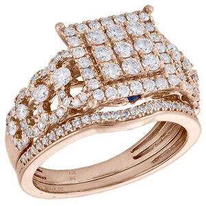 14K Rose Gold Diamond Halo Square Engagement Ring + Wedding Band Bridal Set 1 CT