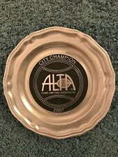 "ALTA 2007 Atlanta Lawn Tennis Association City Champion  Heavy Pewter Plate 10"""