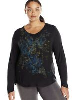 Just My Size JMS Plus Size Black Tee Shirt Long Sleeve Top 1X  2X 3X 4X 5X