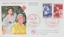 ENVELOPPE PREMIER JOUR - 9 x 16,5 cm - ANNEE 1971 - CROIX-ROUGE J.B. GREUZE