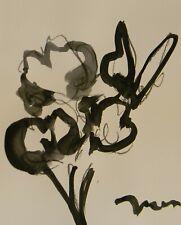 "JOSE TRUJILLO SIGNED Minimalist ACRYLIC on Paper PAINTING 11x14"" FLOWER"