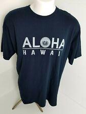 Aloha State of Hawaii Logo Design Short Sleeve Men's Dark Blue T-Shirt Size XL