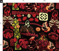 Black Red Lime Tropical Barkcloth Hawaiian Tapa Spoonflower Fabric by the Yard