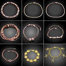 Luxury Women Gold Rose Gold Filled Jewelry Infinity Bracelet Bangle Gift