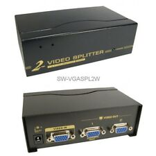 2-way VGA Monitor Display Signal Splitter & Booster, 1 PC to 2 screens, 450MHz
