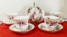 LOT of 5 Royal Albert Lavender Rose Footed Tea Cup and Saucer SETS  MINT !!!