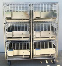 6 Stainless Steel Kennels Kennel Animal Dog Cat Cage Cages On Mobile Cart, Nice