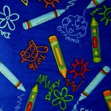 Crayons & Children's Drawings on Dark Blue Background - 100% Cotton - Free Ship