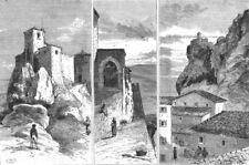 ITALY. San Marino, Central; Castle of; Gate; Borgo at, antique print, 1879
