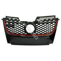 Front Bumper Mesh Red Strip Center Grille For VW Jetta Golf GTI MK5  2003-2009