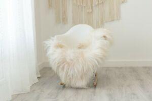 Real Sheepskin Rug Chair Cover Sheepskin Throw Sheep Skin Ivory #ebicel20