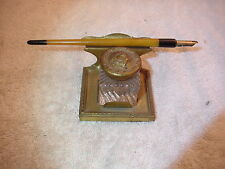 Antique Silverplate Inkwell, with bone handle & 14 K gold plate nib