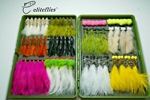 eliteflies 64 Eggs/ Woolly buggers/ Zonkers/ Booby lures box fly fishing flies