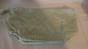Pottery Barn Kids Green & White Gingham Sabrina Basket Liner SMALL Baby Stains