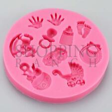 Baby Shower Bébé Moule Silicone célébration Handprint landau Cupcake Topp
