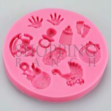 Baby Shower New Born baby Celebration Silicone Mould Handprint Pram Cupcake Topp