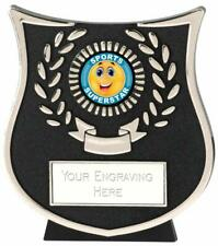 Emblems-Gifts Curve Silver Happy Sports Superstar Trophy With Free Engraving